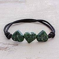 Jade pendant bracelet, 'Maya Love in Green' - Jade Heart Pendant Bracelet in Green from Guatemala