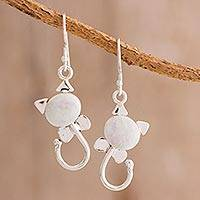 Jade dangle earrings, 'Small Felines in Lilac' - Cat-Shaped Jade Dangle Earrings in Lilac from Guatemala