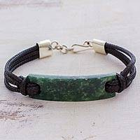 Jade pendant bracelet, 'Monolith in Dark Green' - Simple Jade Pendant Bracelet in Dark Green from Guatemala