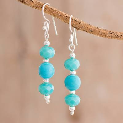 Beaded dangle earrings, 'Ancient Beauty' - Beaded Dangle Earrings in Turquoise from Guatemala