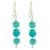 Beaded dangle earrings, 'Ancient Beauty' - Beaded Dangle Earrings in Turquoise from Guatemala (image 2a) thumbail