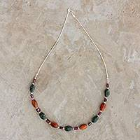 Multi-gemstone beaded necklace, 'Forest Sunset' - Multi-Gemstone Silver Beaded Necklace from Guatemala