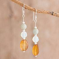 Jade and agate dangle earrings, 'Honey Elegance' - Jade and Agate Beaded Dangle Earrings from Guatemala