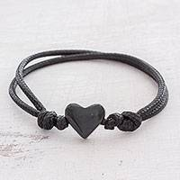 Jade pendant bracelet, 'Maya Romance in Black' - Heart-Shaped Jade Pendant Bracelet in Black from Guatemala