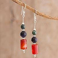 Multi-gemstone dangle earrings, 'Universal Color' - Colorful Multi-Gemstone Dangle Earrings from Guatemala