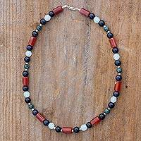 Multi-gemstone beaded necklace, 'Universal Color' - Colorful Multi-Gemstone Beaded Necklace from Guatemala