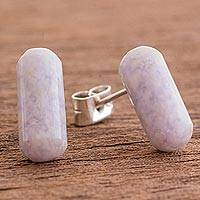 Jade drop earrings, 'Pink Tubes' - Natural Pink Jade Drop Earrings from Guatemala
