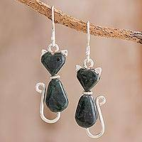 Jade dangle earrings, 'Cats of Love in Dark Green' - Jade Cat Dangle Earrings in Dark Green from Guatemala