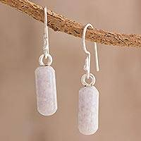 Jade dangle earrings, 'Pink Tubes' - Natural Pink Jade Dangle Earrings from Guatemala