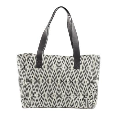 Diamond Motif Cotton Shoulder Bag from Guatemala
