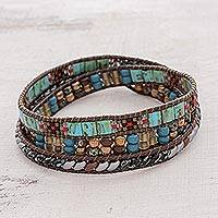 Glass beaded wrap bracelet, 'Santiago Atitlan Path' - Colorful Glass Beaded Wrap Bracelet from Guatemala