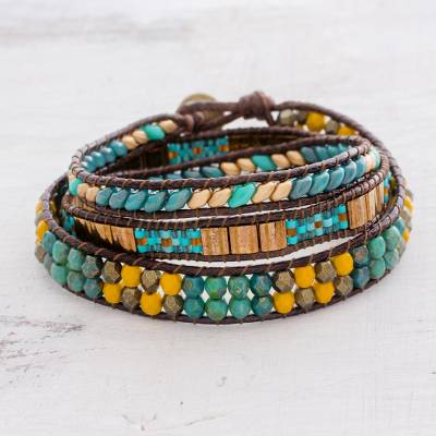 Glass beaded wrap bracelet, Santiago Atitlan Journey
