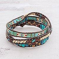 Glass beaded wrap bracelet, 'Santiago Atitlan Adventure' - Handmade Glass beaded Wrap Bracelet from Guatemala