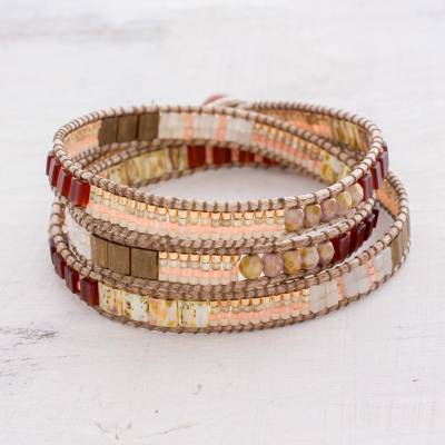 Aventurine beaded wrap bracelet, 'Mayan Architecture' - Aventurine Beaded Wrap Bracelet in Peach from Guatemala