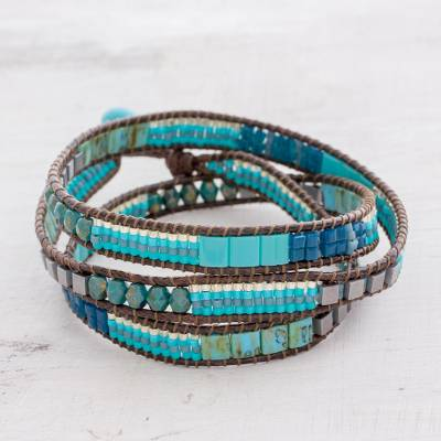 Glass beaded wrap bracelet, 'Mayan Monolith' - Glass Beaded Wrap Bracelet in Turquoise from Guatemala