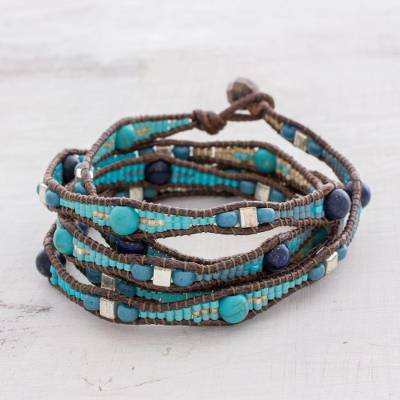 Lapis lazuli beaded wrap bracelet, 'Stones of Destiny' - Lapis Lazuli Beaded Wrap Bracelet from Guatemala