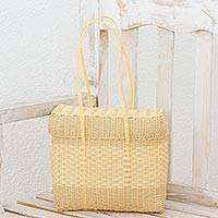 Plastic shoulder bag, 'Cornsilk Picnic' - Recycled Plastic Shoulder Bag in Cornsilk from Guatemala