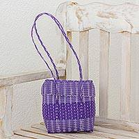 Plastic shoulder bag, 'Purple Picnic' - Recycled Plastic Shoulder Bag in Purple from Guatemala