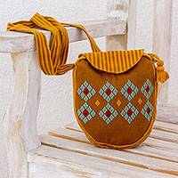 Cotton sling bag, 'Cotzal Tradition' - Hand Woven Cotton Sling Bag with Stripe and Diamond Motifs