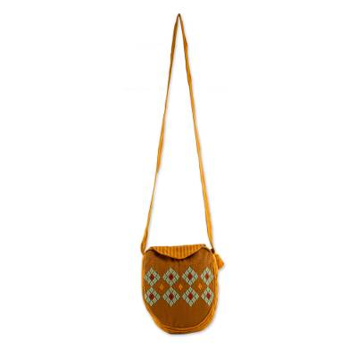 Hand Woven Cotton Sling Bag with Stripe and Diamond Motifs