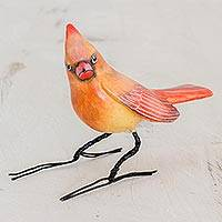 Ceramic figurine , 'Cardinal Beauty' - Handmade Cardinal Clay Bird Figurine from Guatemala