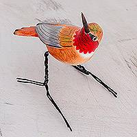 Ceramic figurine, 'Rufous Hummingbird' - Hand Sculpted Ceramic Rufous Hummingbird Figurine