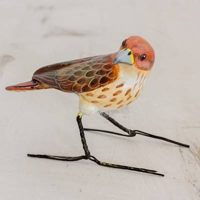 Ceramic figurine, 'Red-Tailed Hawk' - Guatemalan Handmade Red-Tailed Hawk Ceramic Bird Figurine