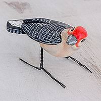 Ceramic statuette, 'Red-Bellied Woodpecker' - Hand Sculpted Ceramic Red-Bellied Woodpecker Statuette