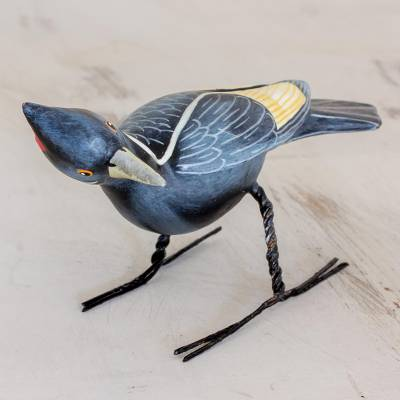 Ceramic figurine, 'Ivory-Billed Woodpecker' - Hand Sculpted Ceramic Ivory-Billed Woodpecker Figurine