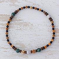 Multi-gemstone beaded stretch anklet, 'Mountain Nights' - Jade Multi-Gemstone Beaded Anklet from Guatemala