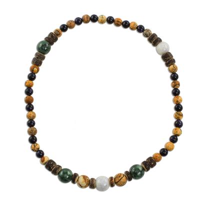 Jade Multi-Gemstone Beaded Anklet from Guatemala