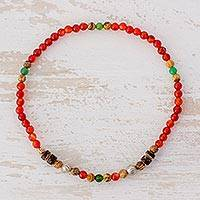Agate and jasper beaded stretch anklet, 'Ojo de Dios' - Agate and Jasper Beaded Stretch Eye Anklet from Guatemala
