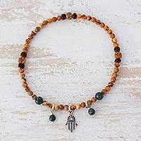 Jasper and jade beaded stretch anklet, 'Colorful Hamsa' - Jasper and Jade Beaded Hamsa Anklet from Guatemala