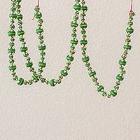 Ceramic beaded garland, 'Holiday Flowers in Green' - Painted Ceramic Holiday Garland in Green from Guatemala