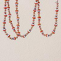 Ceramic holiday garland, 'Holiday Flowers' - Hand-Painted Ceramic Holiday Garland from Guatemala