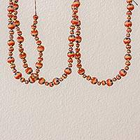 Ceramic beaded garland, 'Floral Holiday in Red' - Floral Ceramic Holiday Garland in Red from Guatemala