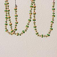Ceramic beaded garland, 'Floral Holiday in Green' - Floral Ceramic Holiday Garden in Green from Guatemala