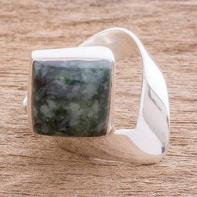 Square Green Jade Cocktail Ring from Guatemala