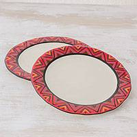 Ceramic dinner plates, 'Tazumal' (pair) - Hand Crafted Ceramic Dinner Plates With Maya Design