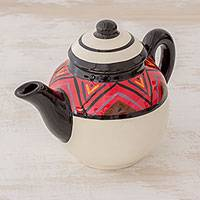Ceramic teapot, 'Tazumal' - Maya Motif Themed Ceramic Teapot from El Salvador