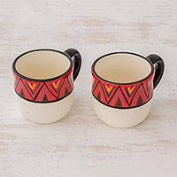 Ceramic coffee mugs, 'Tazumal' (pair) - El Salvador Artisan Crafted Ceramic Coffee Mugs (Pair)