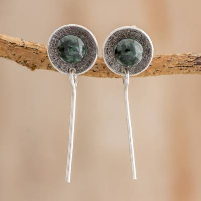 Jade dangle earrings, 'Art of the Ancients' - Minimalist Jade Dangle Earrings from Guatemala