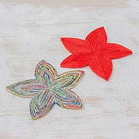 Recycled paper trivets, 'Stellar Beauty in Red' (pair) - Pair of Star-Shaped Recycled Paper Trivets from Guatemala