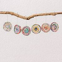 Recycled paper ornaments, 'Wheels of Fortune' (set of 6) - Six Circular Recycled Paper Ornaments from Guatemala