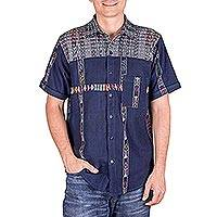Men's cotton shirt, 'Guatemalan Vacation' - Men's Woven Blue Button-Down Shirt from Guatemala