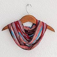 Rayon infinity scarf, 'Tenderness' - Loom Woven Striped Rayon Infinity Scarf from Guatemala