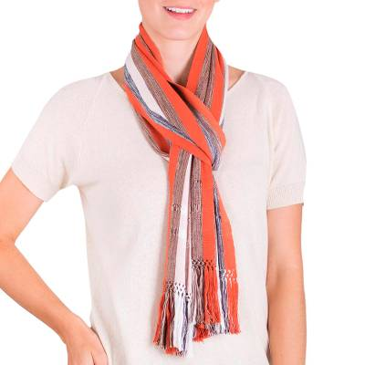 Rayon scarf, 'Lines of the Earth' - Hand Woven Striped Rayon Scarf in Earth Tones from Guatemala