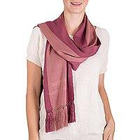 Rayon scarf, 'Sublime Elegance' - Guatemalan Hand Made Pink Striped Rayon Scarf