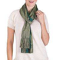 Rayon scarf, 'Forests of Guatemala' - Guatemalan Backstrap Loom Woven Green Striped Rayon Scarf