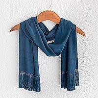 Rayon scarf, 'The Colors of Lake Atitlan' - Artisan Crafted Blue Rayon Scarf from Guatemala